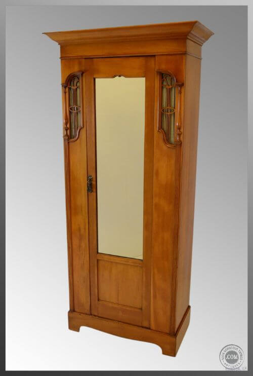 Satinwood Hall Cloak Cabinet - Art Nouveau Styling - Satinwood Hall Cloak Cabinet - Art Nouveau Styling Cabinets And