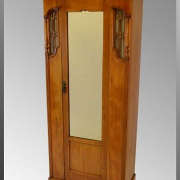 Satinwood Hall Cloak Cabinet - Art Nouveau Styling