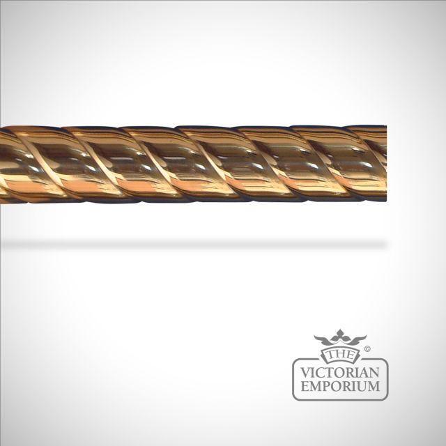Rope twist brass curtain pole (no finials) - 38mm or 51mm widths