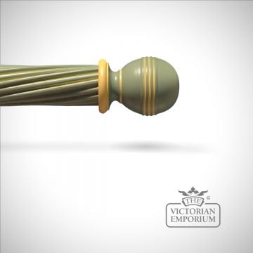 Hand decorated ribbed ball finial with highlights