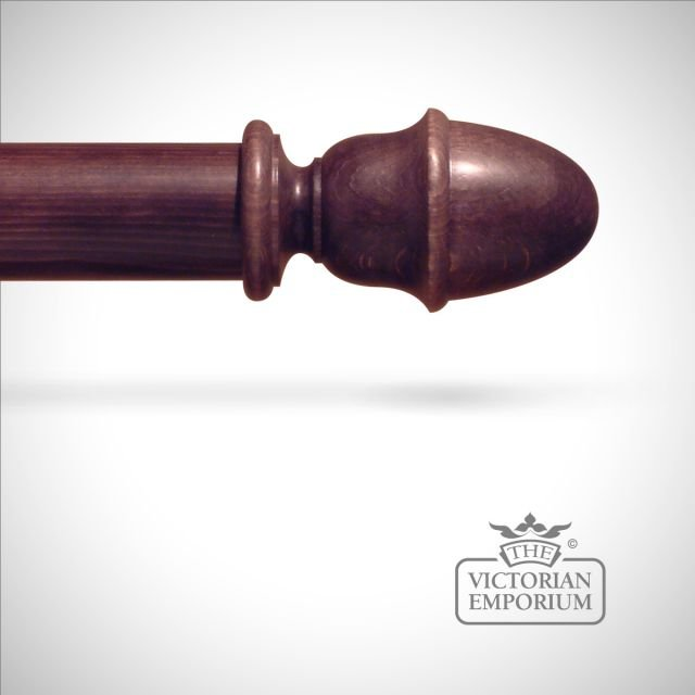 Traditional stained plain acorn finial to match stained curtain poles
