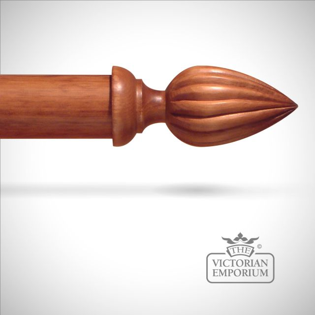 Traditional stained fluted cone finial to match stained curtain poles