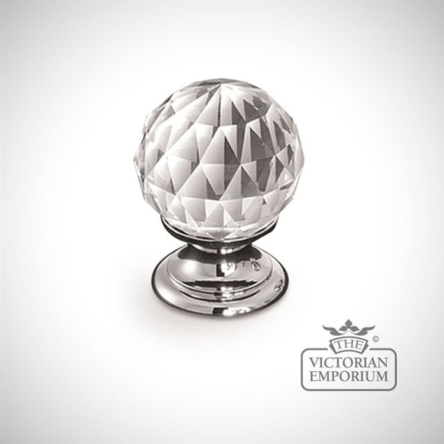 Diamond faceted glass knob