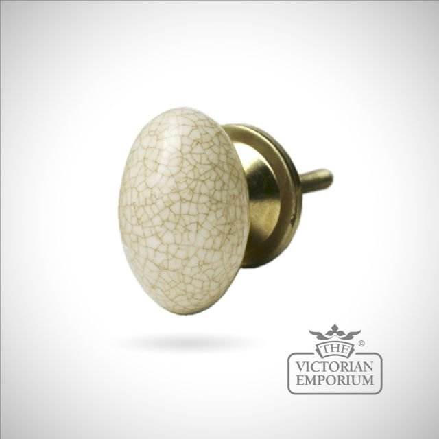 Oval Cream Crackled Drawer Pull