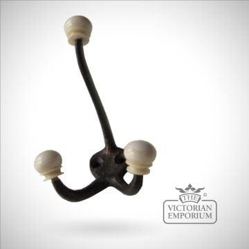 Antique Brass and Bone teardrop hook