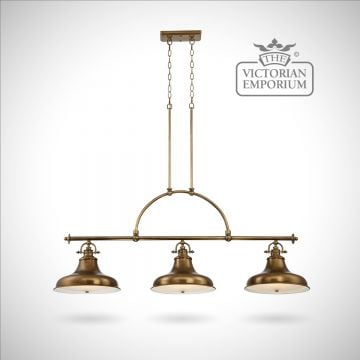Emerey triple island light in Weathered Brass