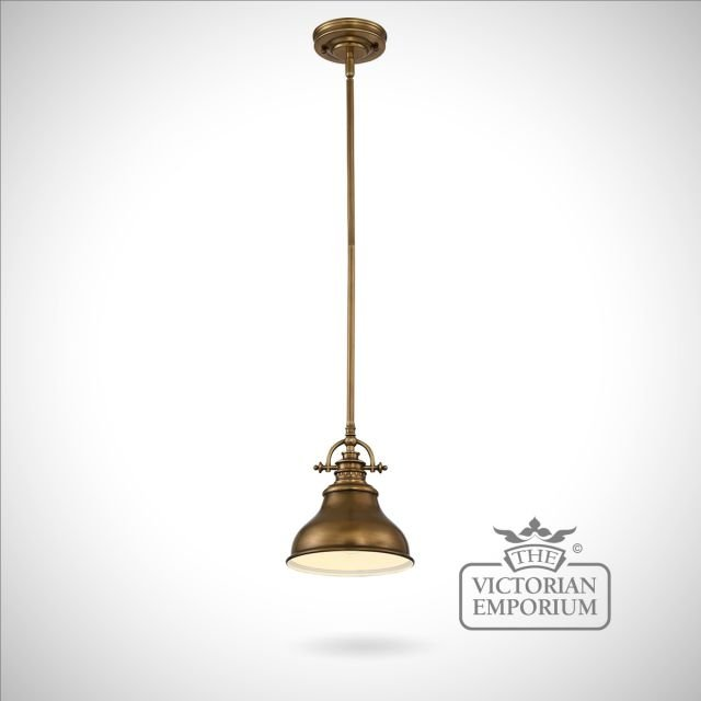 Emerey single mini pendant light in Weathered Brass