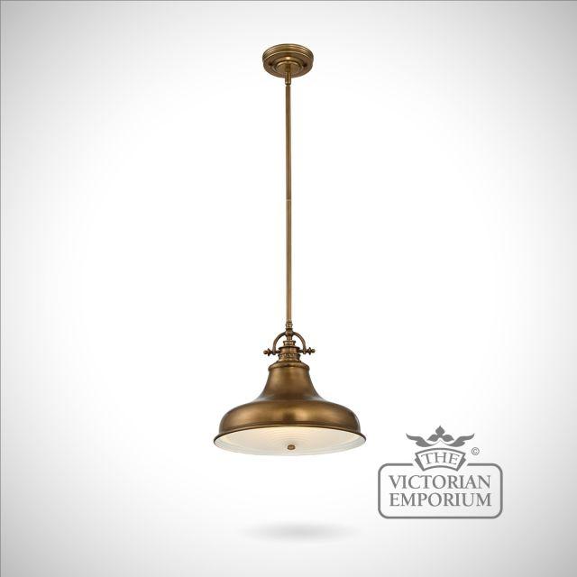 Emerey single medium pendant light in Weathered Brass