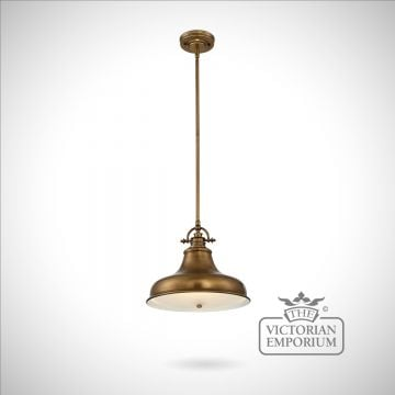 Emerey single medium pendant light in Weathered Brass