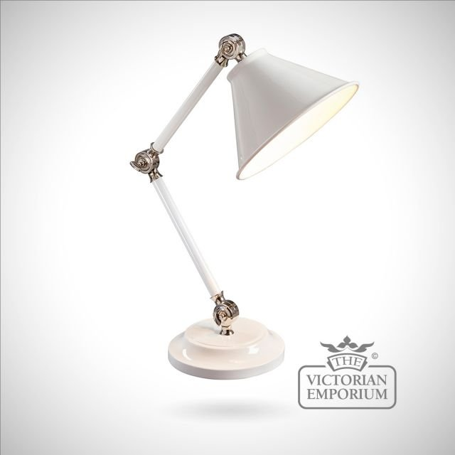 Provence small table lamp in White/Polished Nickel