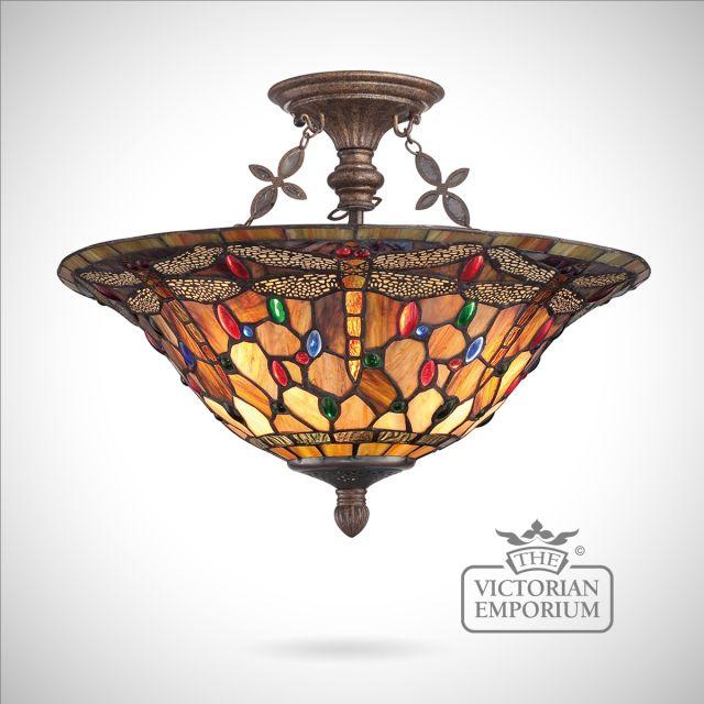 Tiffany Dragonfly Semi Flush ceiling light
