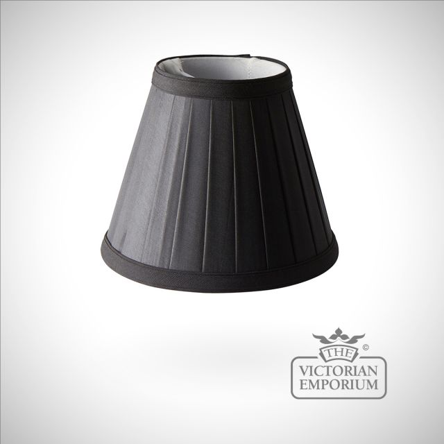 Pleated black clip shade - 15.5cm
