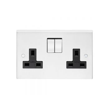 2 Gang 13amp DP Switched Socket in brass, chrome or satin chrome
