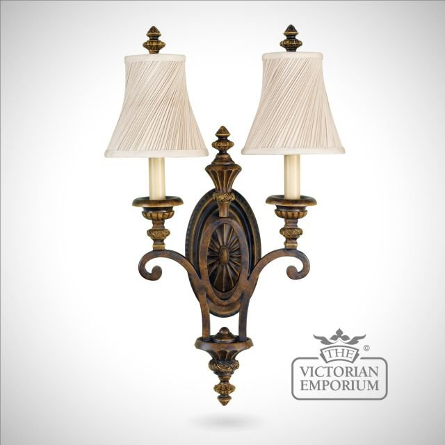 Double wall sconce in Walnut finish