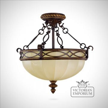 Period semi flush mounted light
