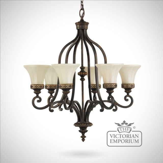 Walnut chandelier with up lights