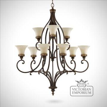 Double tier walnut chandelier