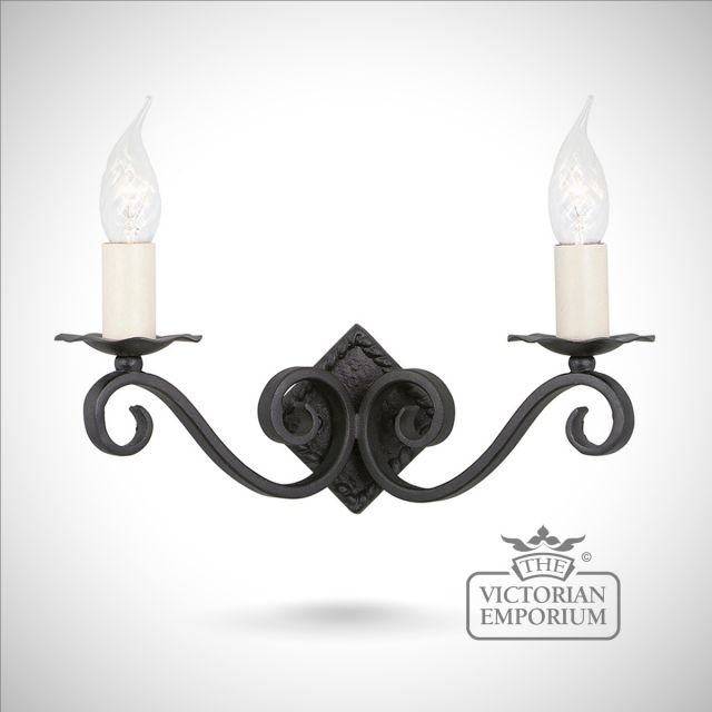 Rectory double wall sconce with diamond shaped fitting