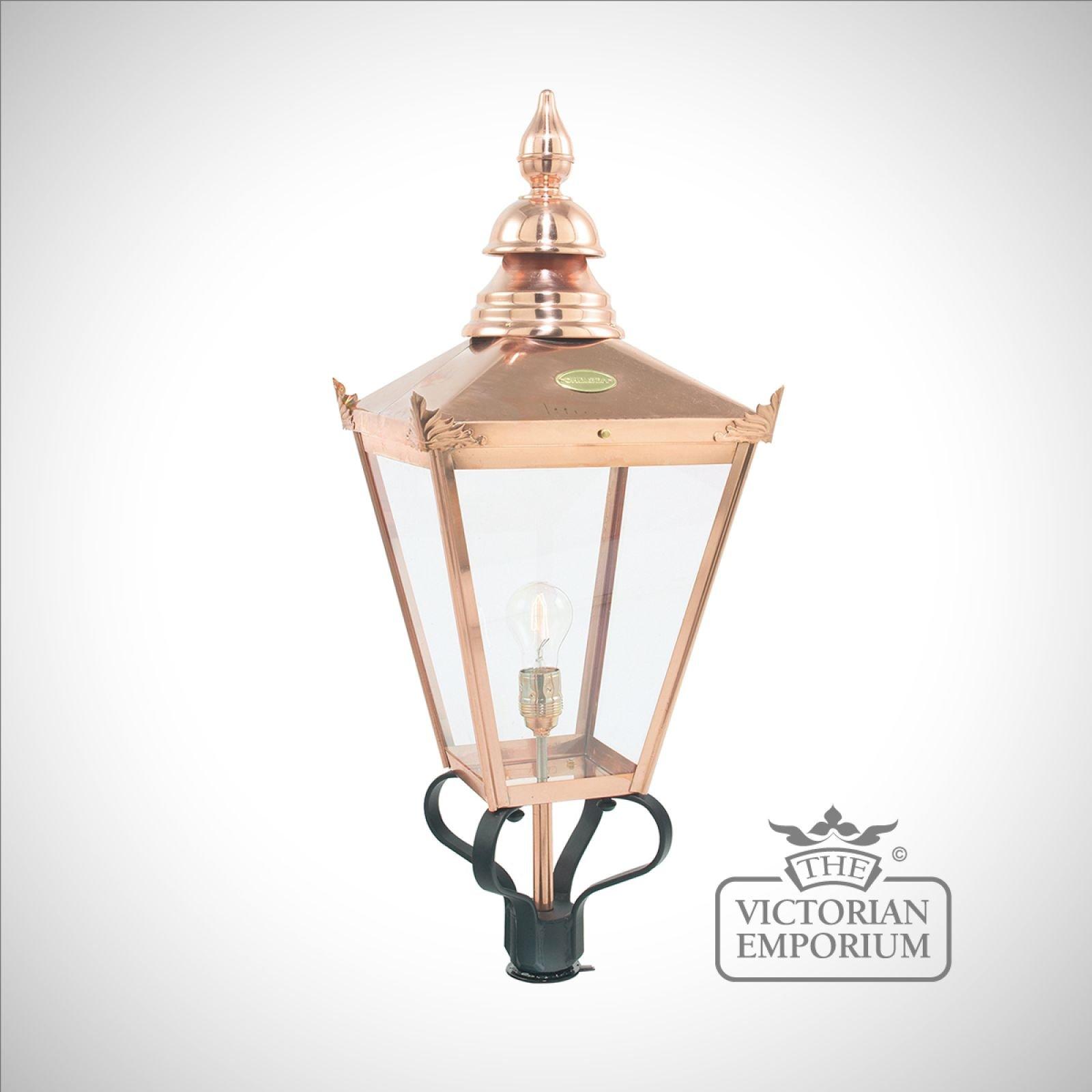 Chelsea Copper Large Lantern Head Only Pedestal Lanterns