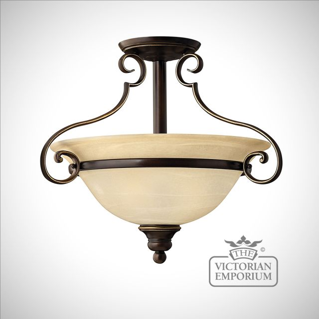 Olde bronze semi flush mount light