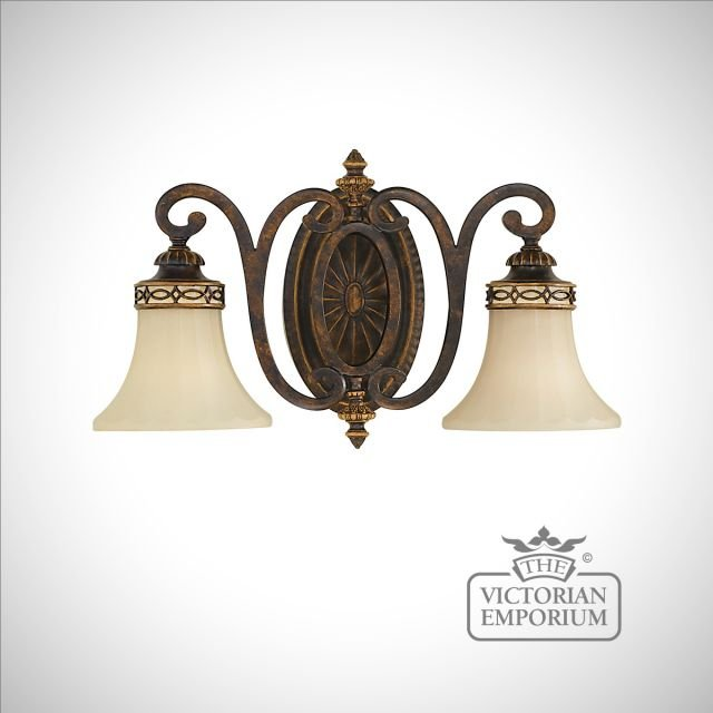 Double wall sconce with Walnut finish