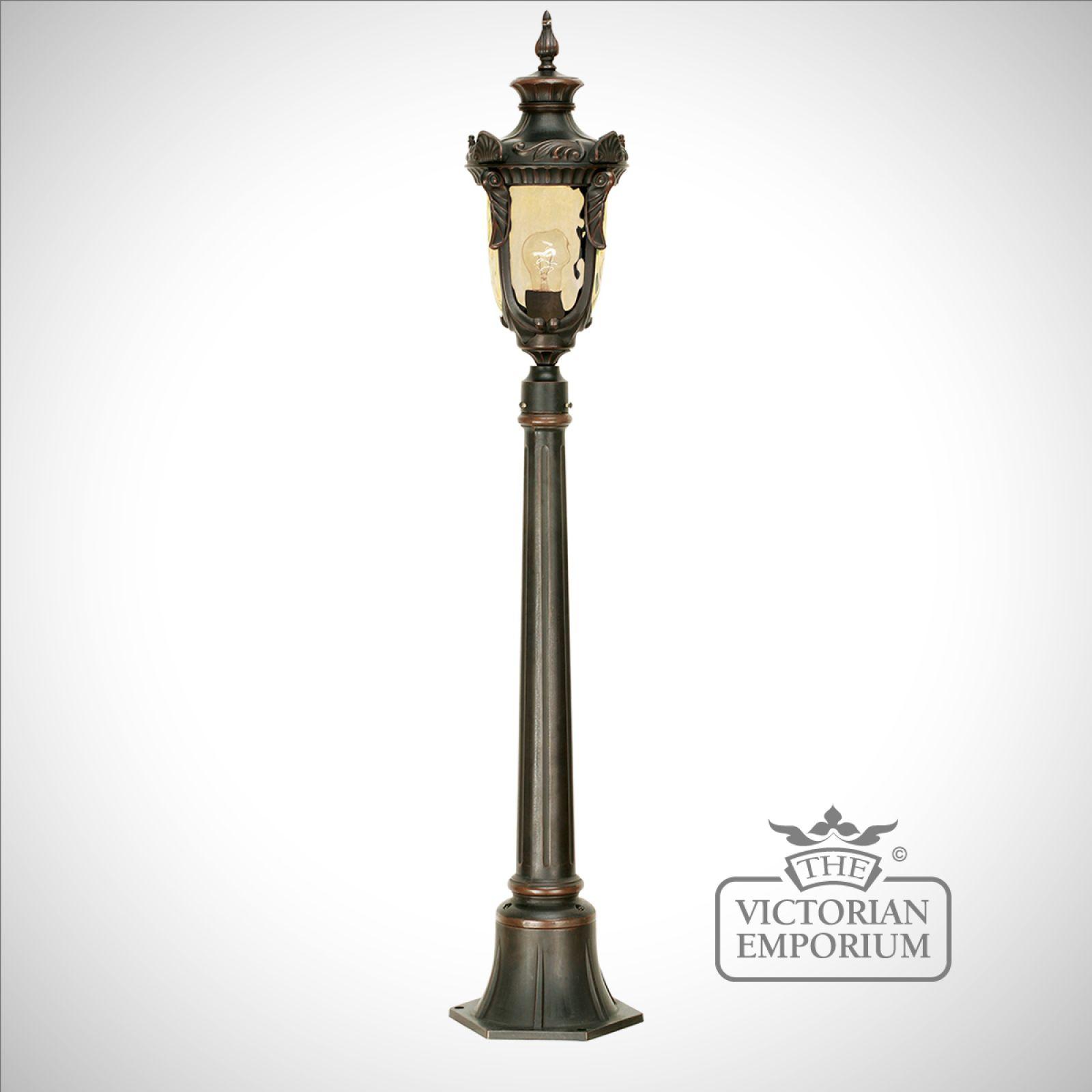 Fancy Outdoor Post Lights: Philadelphia Medium Pillar With Lantern In Old Bronze
