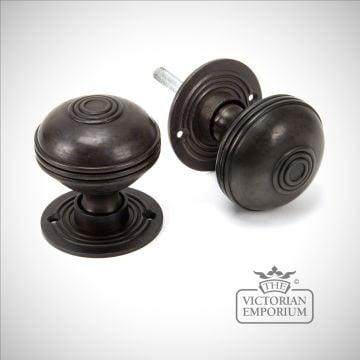 Pressbury mortice/rim knob set in Aged Bronze