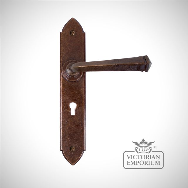 Bronze Gothic Lever Lock Set