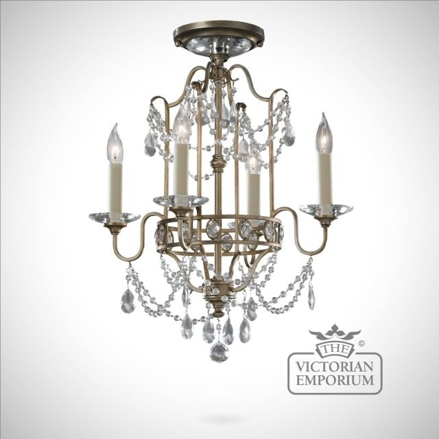 Traditional Silver Haematite Gate Post Lantern Or Driveway: Gilded Silver Decorative Duo Mount 4 Light Chandelier