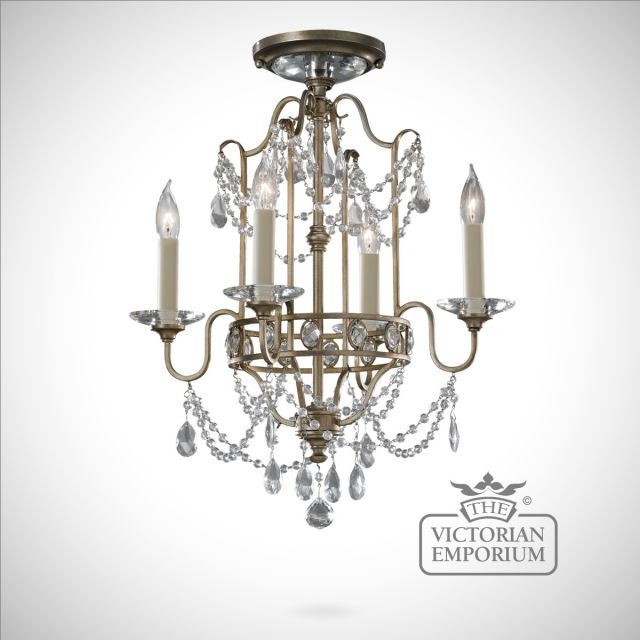 Gilded silver decorative duo mount 4 light chandelier