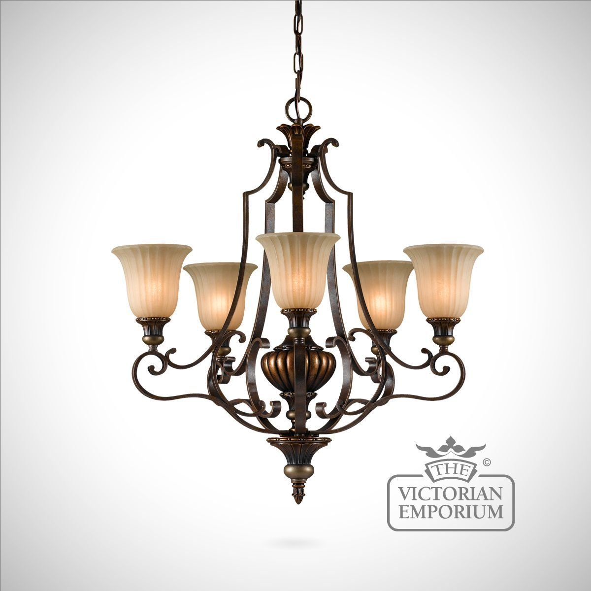 Gold And Bronze Decorative 5 Light Chandelier Interior