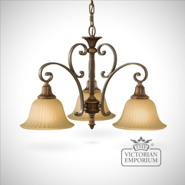 Gold and Bronze 3 light chandelier