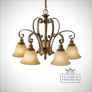 Gold and Bronze 5 light chandelier