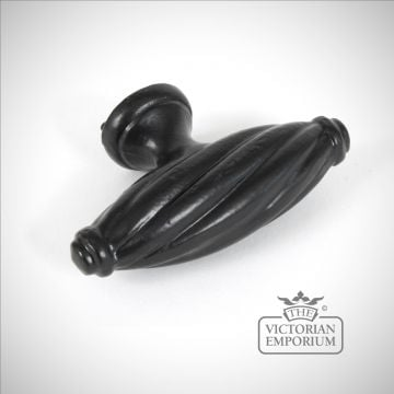 Simple black twist cabinet handle