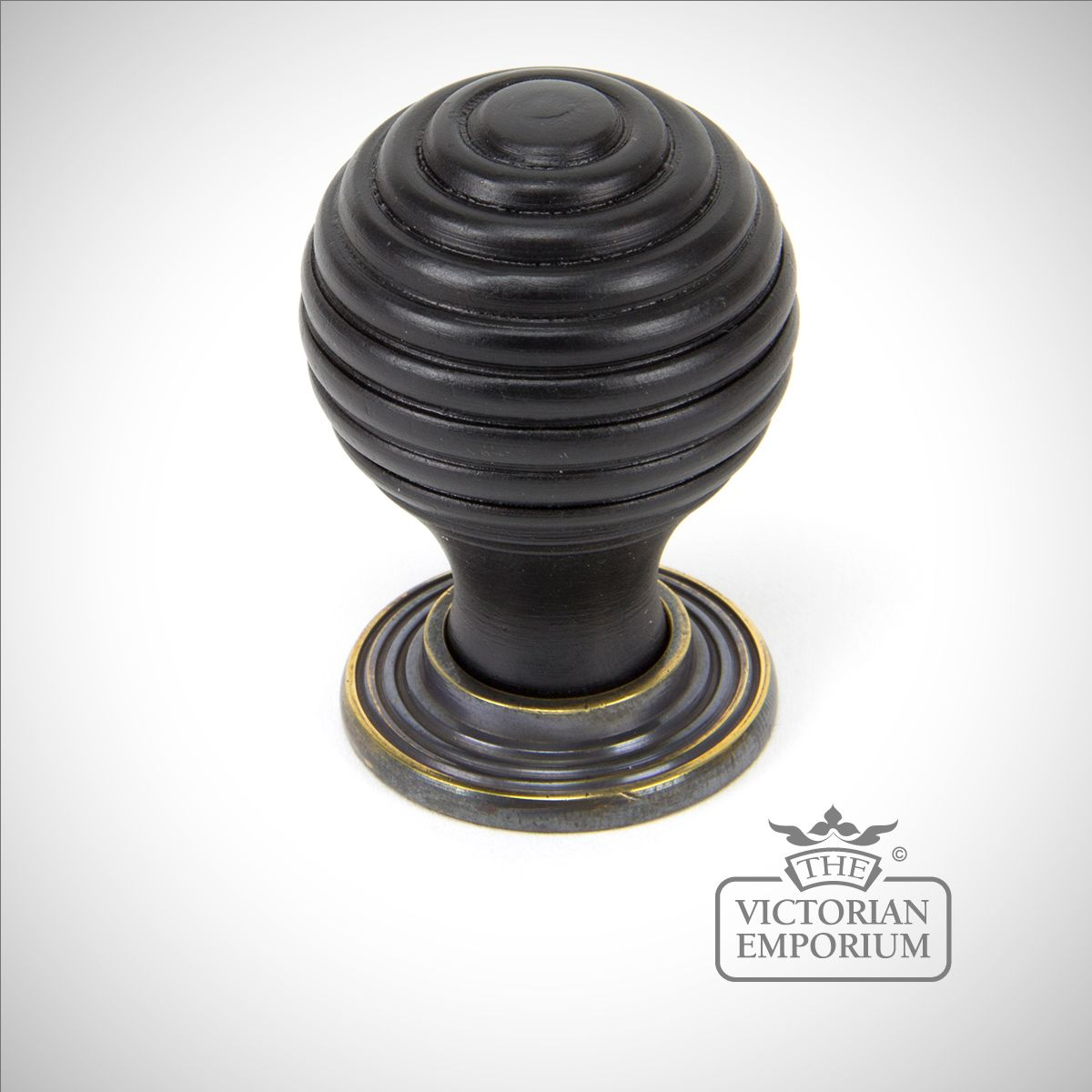 Anvil 83574 Ebony Antique Brass Beehive Door Knobs: Ebony & Antique Brass Beehive Cabinet Knob