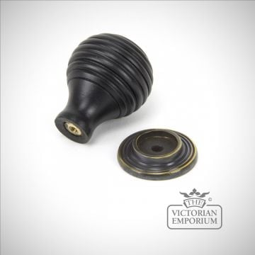 Ebony & Antique Brass Beehive Cabinet Knob