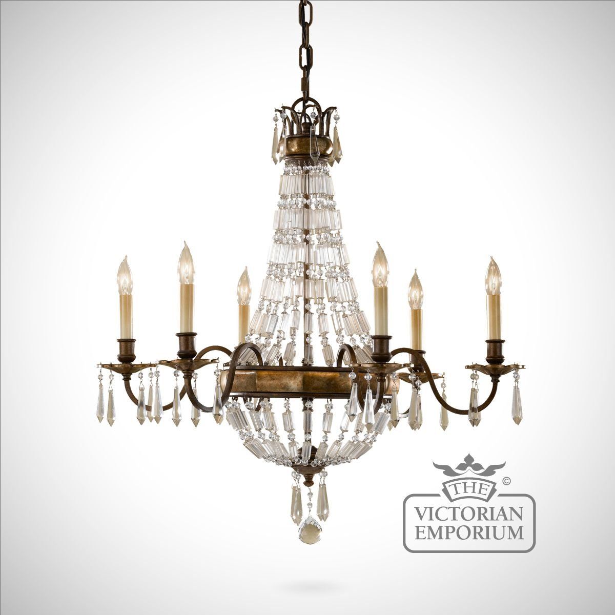 Bronze And Antique Quartz 6 Light Chandelier Ceiling