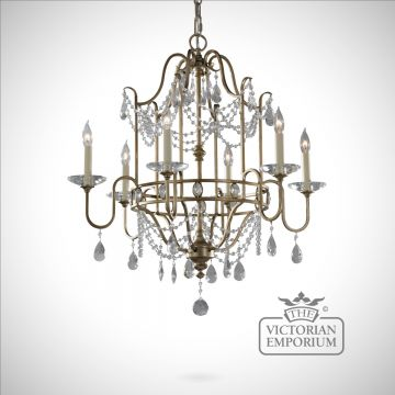 Gilded silver decorative 6 light chandelier