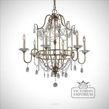 Gilded silver decorative 6 light chandelier