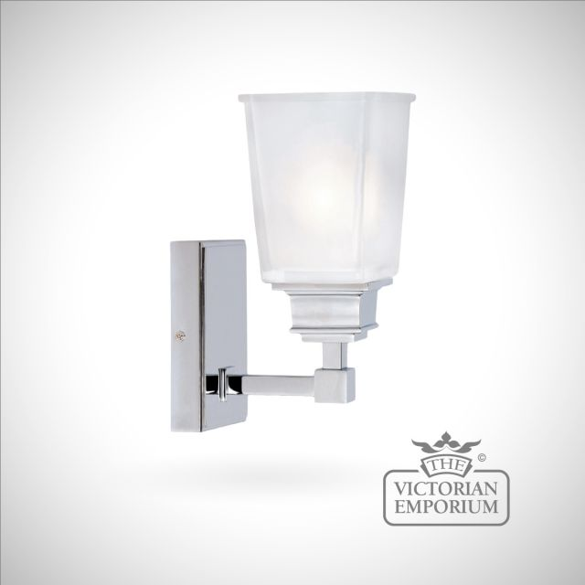 Square chrome wall light