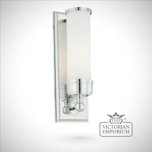Tubular chrome wall light