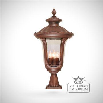 Bronze pedestal lantern - large