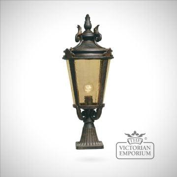 Dark bronze pedestal lantern - large