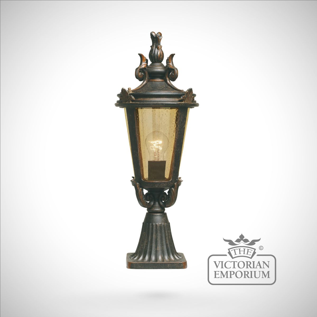 Parish Mini Pedestal Lantern: Dark Bronze Pedestal Lantern - Medium