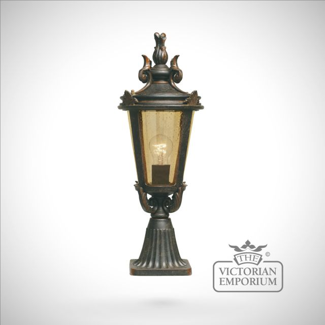 Dark bronze pedestal lantern - medium