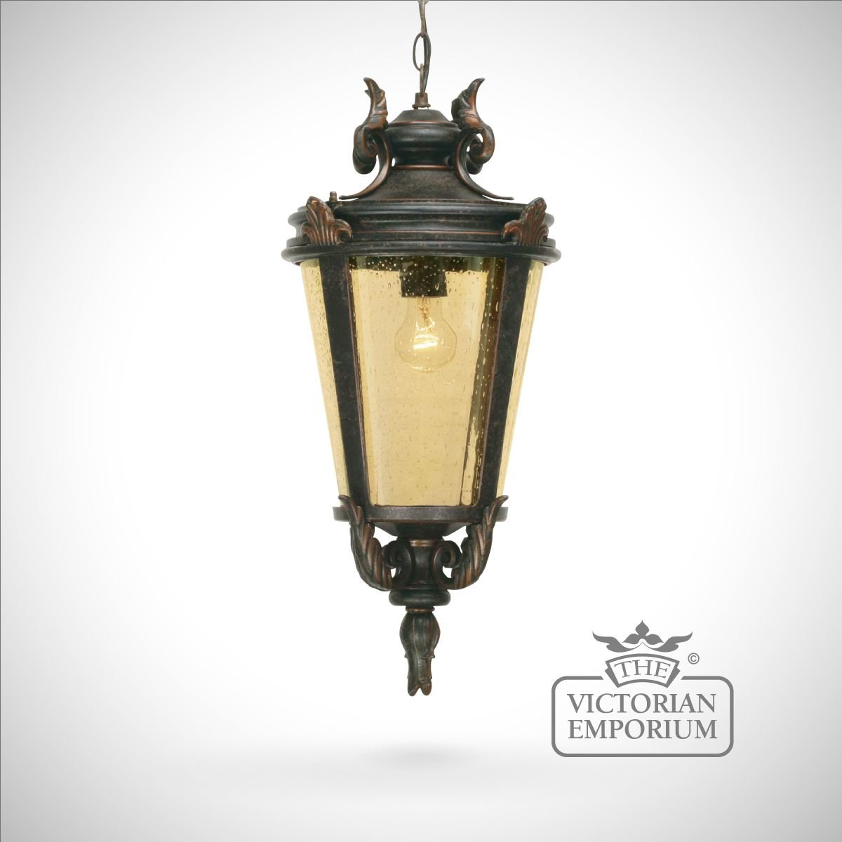 Dark Bronze Chain Lantern Large Exterior Ceiling Lights