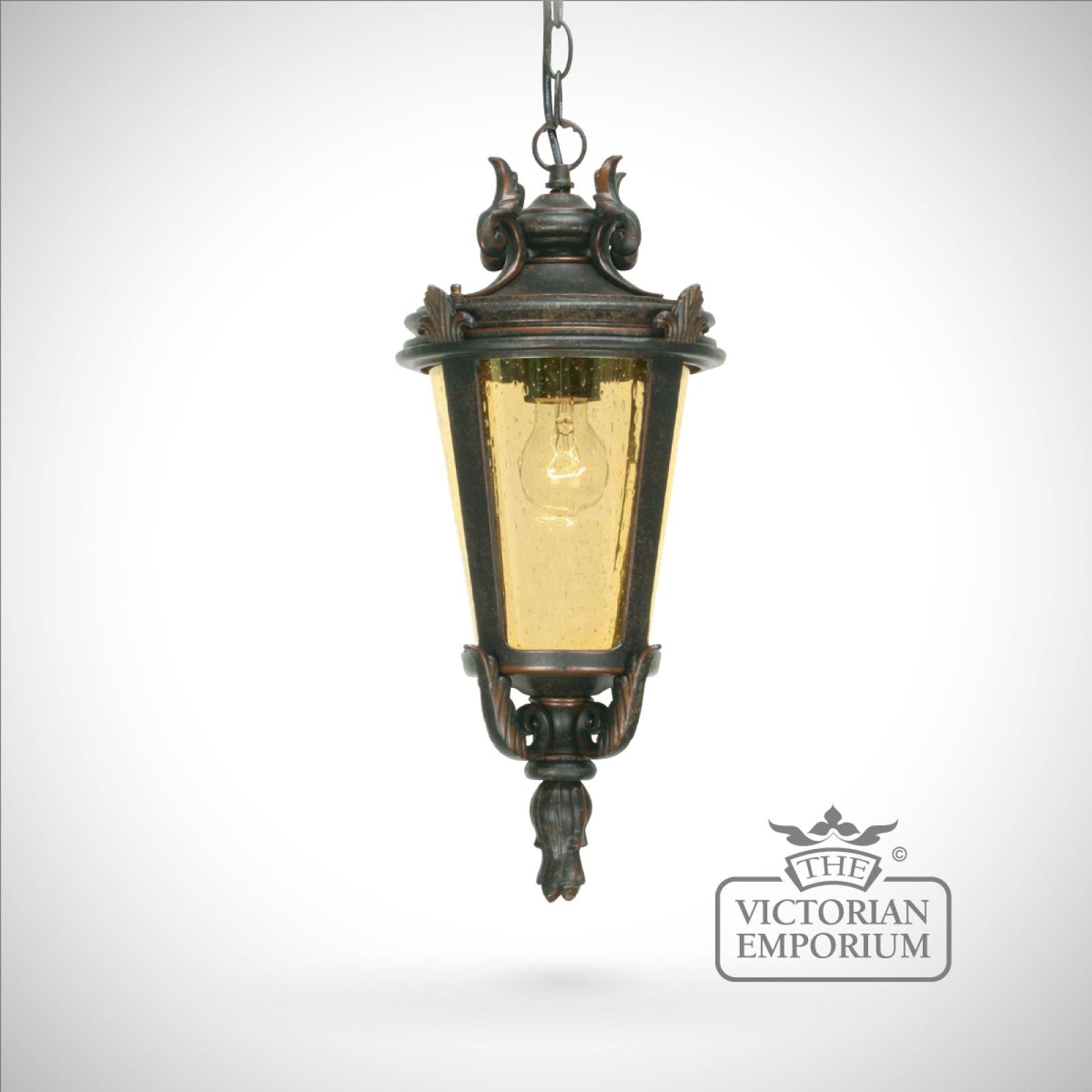 Dark Verdigris Green Ornate Pedestal Light: Dark Bronze Chain Lantern - Medium