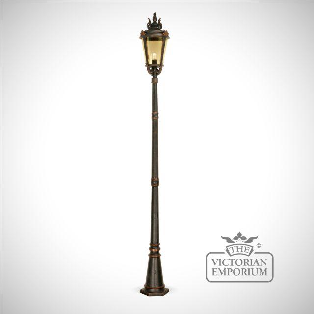Dark bronze pedestal lantern with lamp post
