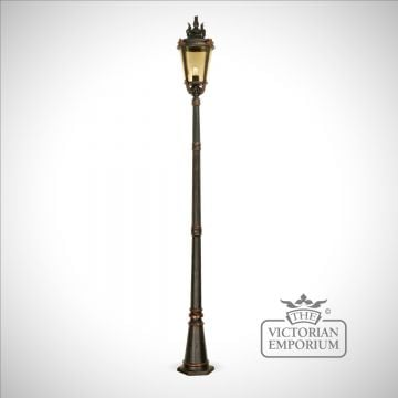 Dark bronze pedestal lantern with lamp post