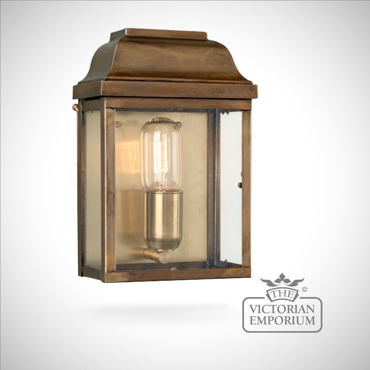External Lantern Wall Lights : Victoria wall lantern - antique brass Outdoor Wall Lights